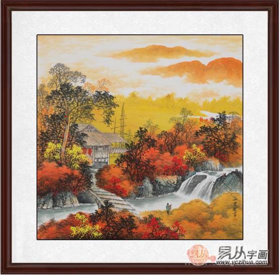风景壁画客厅/餐厅 王宁斗方山水画作品《秋色人家》