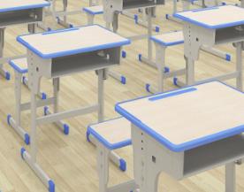 新款金属+木板可升降中小学生桌椅