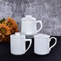 廠家批發陶瓷茶杯純白帶過濾茶漏杯套裝
