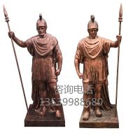 玻璃钢武士雕塑西方仿铜人物雕塑建筑入口欧式人物摆件