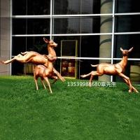 仿铜玻璃钢梅花鹿雕塑主题公园绿地玻璃钢雕塑鹿