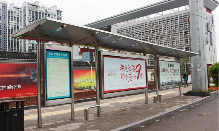 经典不锈钢公交站台006