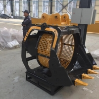 挖机旋转筛分铲斗挖掘机工作装置装配图