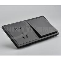 供应高品质黑色PC大板酒店连体开关插座面板