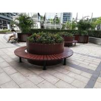 户外钢木树围椅 钢结构+防腐木花箱带座椅图片