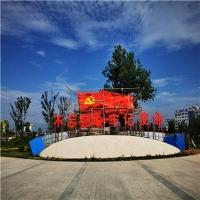 不锈钢红旗雕塑、矗立广场的平畴之上刺向苍穹 党旗安装效果