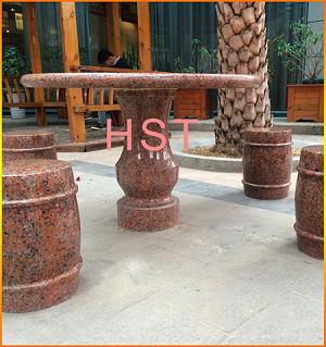 枫叶红花岗岩石桌石凳,广场、公园、庭院休息