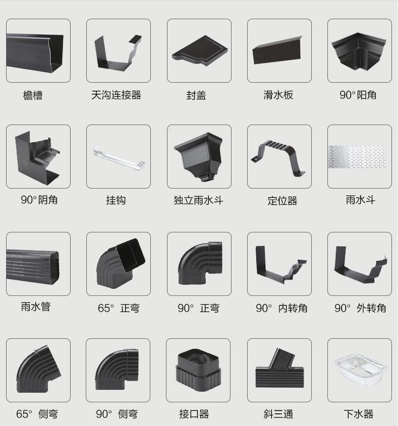 北京彩铝天沟铝合金檐沟雨水槽檐槽排水沟屋檐落水系统