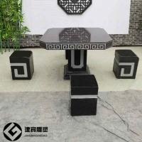 庭院休闲石桌子石雕各种样式石头圆桌方桌石雕厂家定制