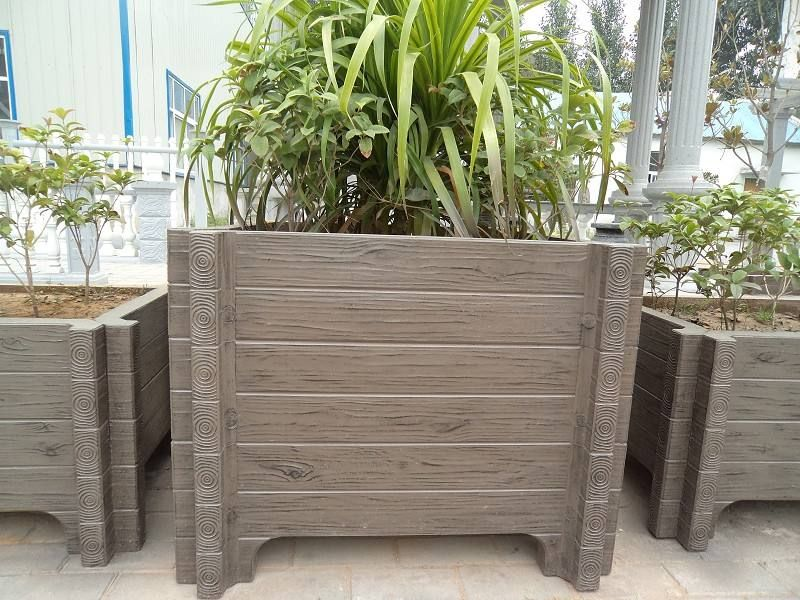 仿木水泥花箱,景观花箱批发价格,美丽的路边花箱