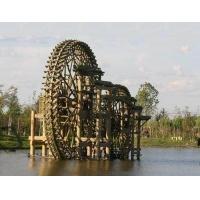 防腐木水車 子母景觀水車 木質仿古水車風水輪