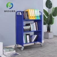 重庆万州图书馆静音书车移动钢制还书车档案室小推车