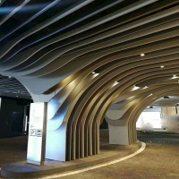 售樓部定制弧形鋁方通吊頂 2.5厚異型鋁格柵