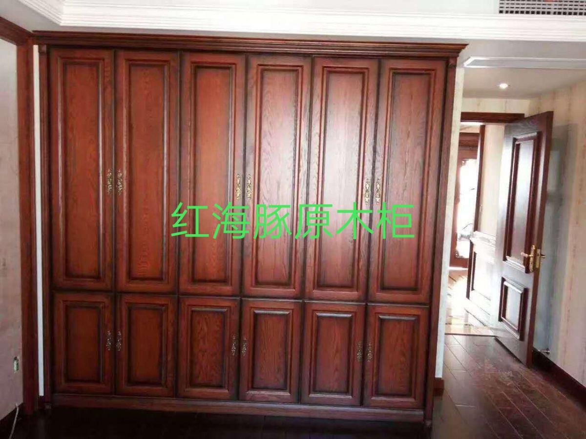 广东木门厂红海豚全屋原木家居 红橡原木衣柜