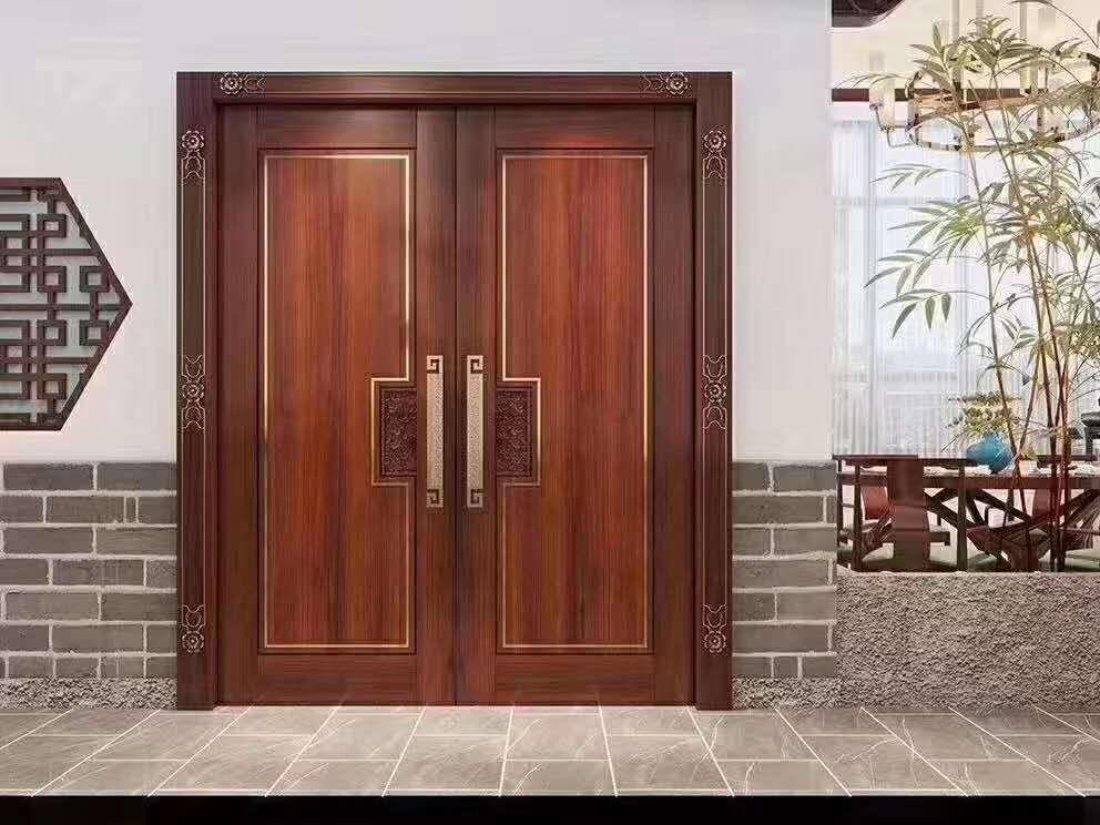 平板古式双开门-佛山红海豚原木门厂生产