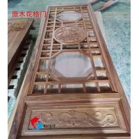 广东木门厂红海豚仿古花格原木门窗