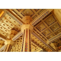 仿古建筑彩繪壓邊條寺院佛堂天花板吊頂橫梁裝飾板材料