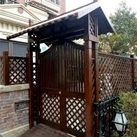 私家庭院門樓防腐木景觀拱門花園牌樓工程