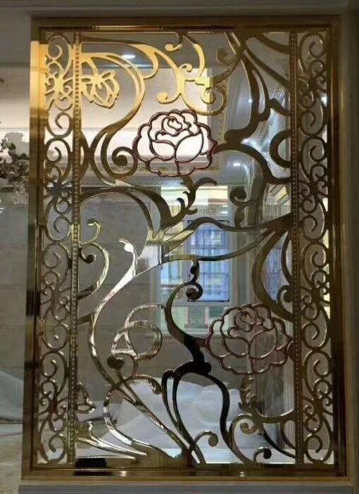 佛山金筑达高端铝艺雕花屏风   别墅玫瑰金铝雕屏风隔断