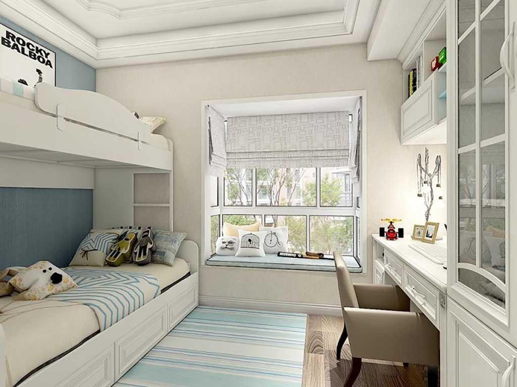 儿童房全屋空间定制儿童床椅书衣柜家具飘窗组合定做
