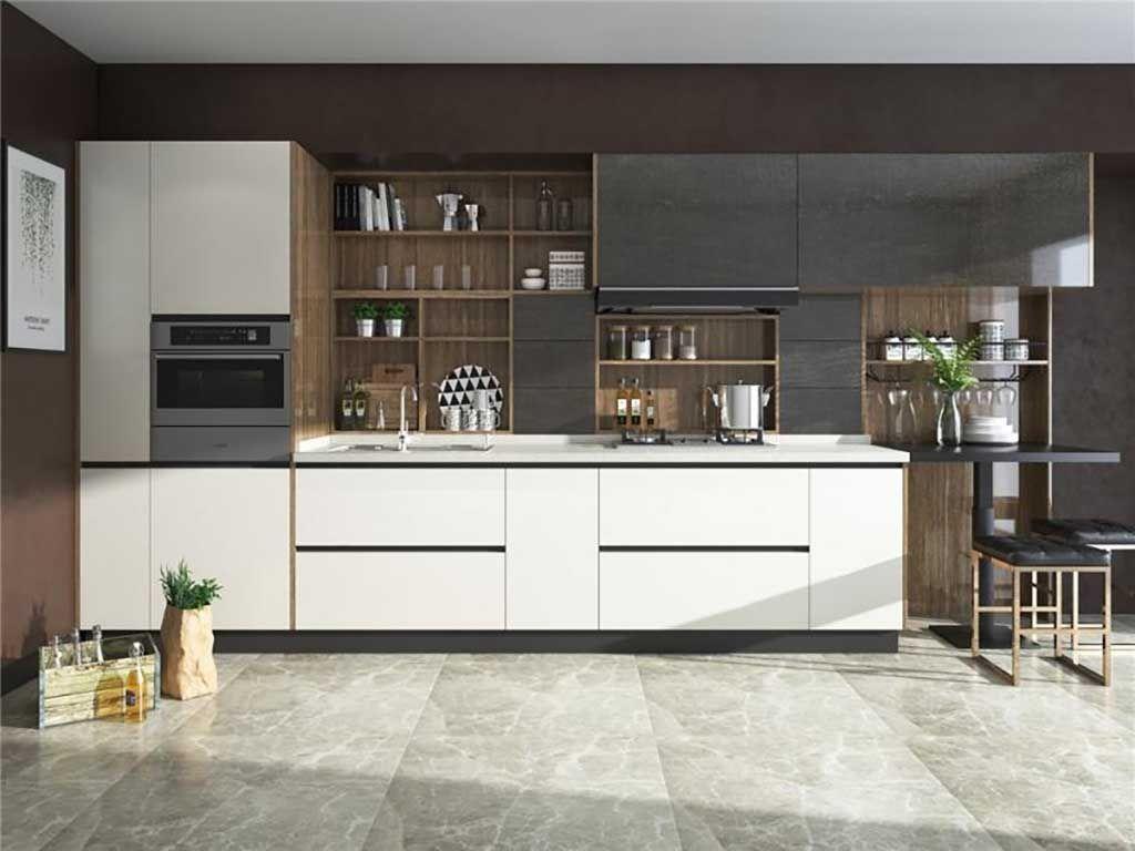 现代整体橱柜定制开放式厨房柜定做木纹一字形组装设计全屋