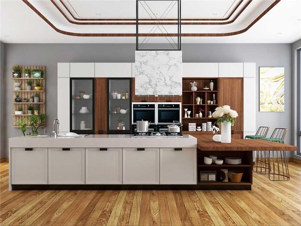 现代简约灰色整体橱柜定做石英石北欧极简厨房厨柜全屋定制