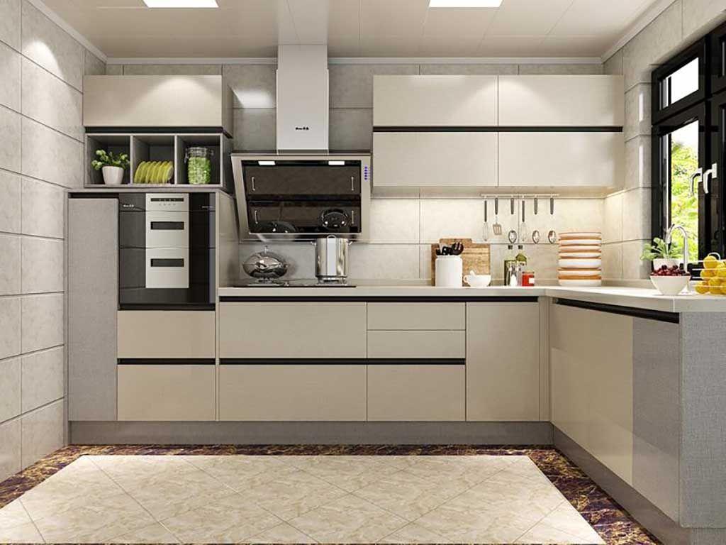 现代简约整体橱柜定制开放式西式厨房装修一字型整套厨柜定做