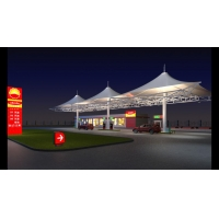 膜结构加油站设计效果图,荆门膜结构加油站顶棚安装施工