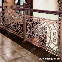 别墅简约扶手护栏 雕花铜楼梯护栏