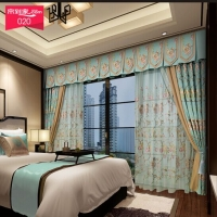 帘到家 L48新中式遮光棉麻绣花客厅卧室落地窗 布334-2