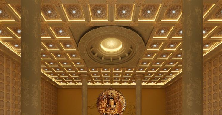 盛古寺廟裝修設計 佛堂天花板 古建彩繪吊頂 鋁扣板天花