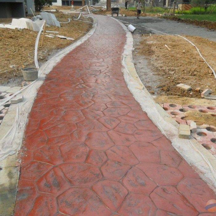 广元市压印混凝土 混凝土压模地坪 彩色路面压花地坪价格