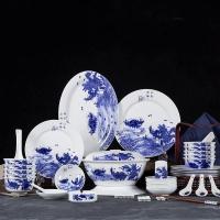 节日礼品餐具,青花瓷釉中彩年年有余碗盘套装