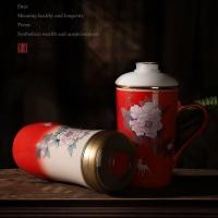 年底禮品陶瓷保溫杯套裝定制 保溫杯定制加字