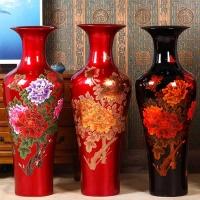 中国红落地大花瓶批发加字
