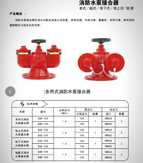 地上地下室内室外消防栓 水泵接合器