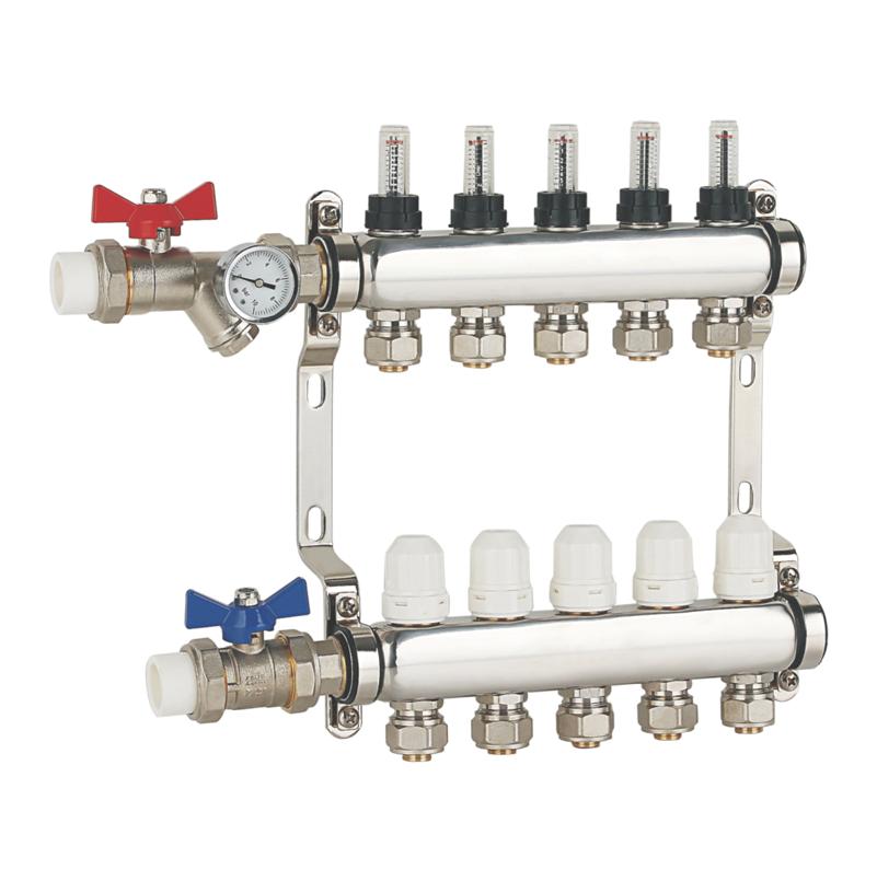 JH不锈钢地暖集分水器 地暖管地热管分水器