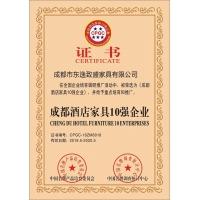 """""""成都酒店家具10强企业"""" 荣誉证书"""