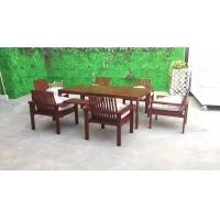 室外园林设施实木桌椅_别墅休闲区户外一桌四椅套装