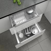 士商厨房橱柜拉篮双层304不锈钢实心抽屉式沥水碗架调味篮碗碟