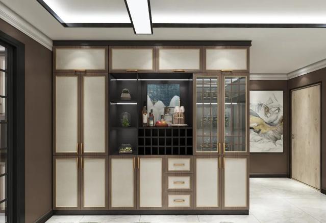 新中式实木拼框包覆门板-郑州房地产精装房整楼定制