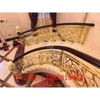 k金镜面铜雕刻护栏设计 红古铜板精品装饰楼梯护栏订做