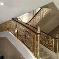别墅装饰铜铝雕花别墅护栏楼梯扶手不锈钢立柱