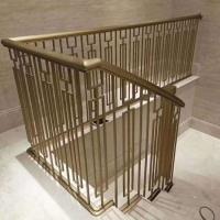 酒店別墅不銹鋼樓梯立柱激光切割焊接拋光金屬樓梯扶手