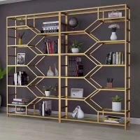 现代简约客厅书房不锈钢展示架定制