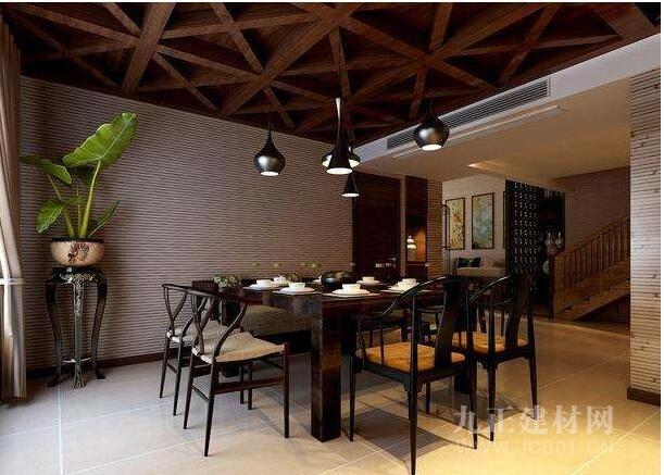 新中式餐厅吊顶效果图欣赏