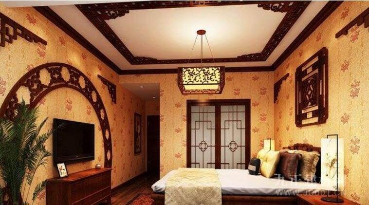 中式卧室吊顶效果图欣赏4