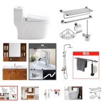 (卫浴无限)卫浴套装 浴室柜100cm 连体式马桶 淋浴器套