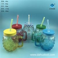 徐州生產500ml果汁玻璃杯梅森玻璃瓶批發