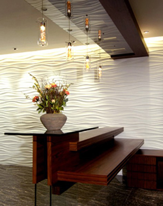 酒店内墙装饰KTV内墙装饰铺面形象墙波浪板